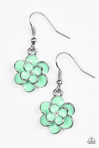 "Paparazzi ""Merry Meadows"" Green Flower White Rhinestone Silver Earrings Paparazzi Jewelry"