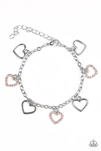 "Paparazzi ""Take A HEARTBREAK"" Pink Rhinestone Silver Heart Charm Bracelet Paparazzi Jewelry"