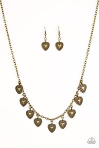 "Paparazzi ""Lost In The Moment"" Brass Heart Fringe Necklace & Earring Set Paparazzi Jewelry"
