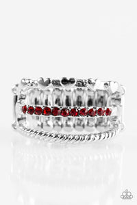 "Paparazzi ""Dear To My Heart"" Red Rhinestone Heart Silver Tone Ring Paparazzi Jewelry"