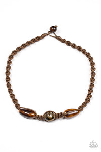 "Paparazzi ""Jungle Tales"" Brown Twine Wooden Accent Urban Necklace Unisex Paparazzi Jewelry"