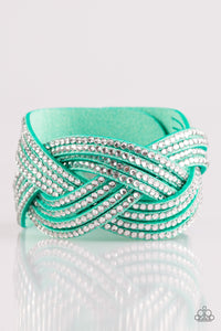 "Paparazzi ""Big City Shimmer"" Green Suede White Rhinestone Braided Wrap Bracelet Paparazzi Jewelry"