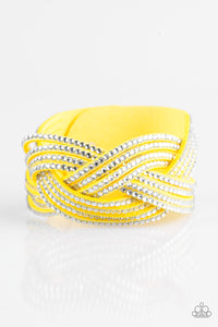 "Paparazzi ""Big City Shimmer"" Yellow Suede White Rhinestone Braided Wrap Bracelet Paparazzi Jewelry"