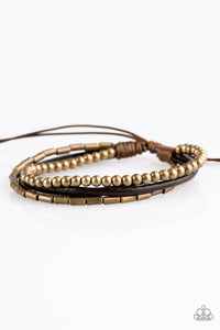 "Paparazzi ""Gypsy Magic"" Brass Bead and Brown Leather Urban Bracelet Paparazzi Jewelry"