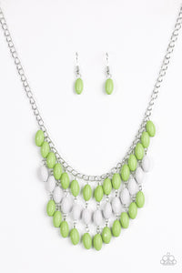 "Paparazzi ""Delhi Diva"" Green and Gray Bead Silver Necklace & Earring Set Paparazzi Jewelry"