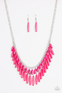 "Paparazzi ""Speak Of The DIVA"" Pink and Opaque Bead Silver Necklace & Earring Set Paparazzi Jewelry"