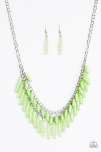 "Paparazzi ""Speak Of The DIVA"" Green and Opaque Bead Silver Necklace & Earring Set Paparazzi Jewelry"