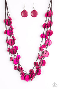 "Paparazzi ""Bermuda Beach House"" Pink Wooden Disc Brown Cording Necklace & Earring Set Paparazzi Jewelry"