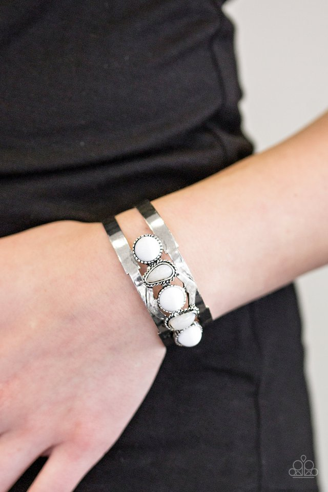 Paparazzi Quot Keep On Tribe Ing Quot White Bead Silver Cuff