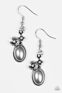 "Paparazzi ""Floral Finery"" Silver Bead White Rhinestone  Earrings Paparazzi Jewelry"