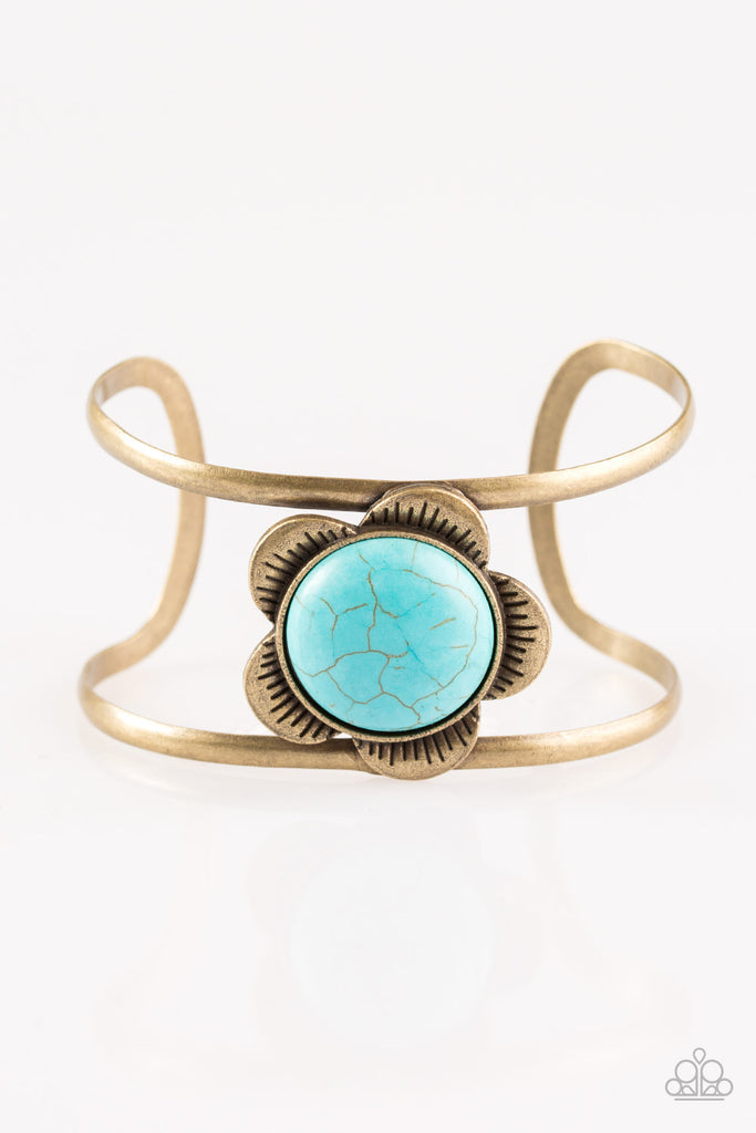 Paparazzi Quot Desert Blooms Quot Brass Airy Cuff Blue Turquoise