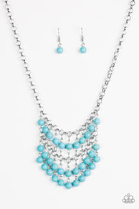 "Paparazzi ""Jurassic Park Party"" Blue Turquoise Stone Bead Silver Necklace & Earring Set Paparazzi Jewelry"