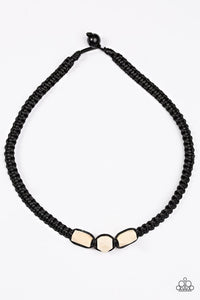 "Paparazzi ""Redwood Forest"" Black Cord Faceted Wooden Bead Urban Necklace Unisex Paparazzi Jewelry"