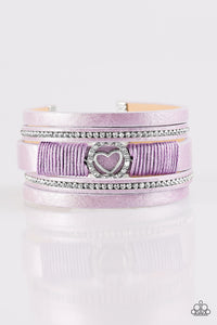 "Paparazzi ""It Takes Heart"" Purple Leather Rhinestone Heart Wrap Bracelet Paparazzi Jewelry"