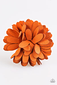 "Paparazzi ""Sunshine and Suede"" Orange Suede Flower Hairband Clip Paparazzi Jewelry"