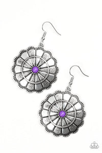 "Paparazzi ""I'm No Wallflower"" Purple Bead Silver Round Floral Design Earrings Paparazzi Jewelry"