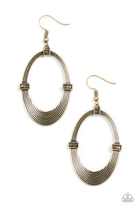 "Paparazzi ""Radiantly Rural"" Brass Oval Circular Aurum Frame Earrings Paparazzi Jewelry"