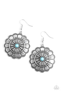 "Paparazzi ""I'm No Wallflower"" Blue Bead Silver Round Floral Design Earrings Paparazzi Jewelry"