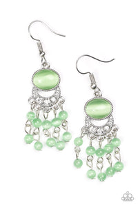 "Paparazzi ""A Spring State Of Mind"" Green Moonstone Silver Fringe Earrings Paparazzi Jewelry"