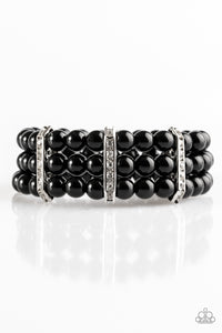 "Paparazzi ""Put On Your GLAM Face"" Black Shiny Bead  Rhinestone Stretchy Bracelet Paparazzi Jewelry"