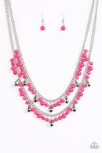"Paparazzi ""Mardi Gras Glamour"" Pink Glassy Bead Silver Necklace & Earring Set Paparazzi Jewelry"