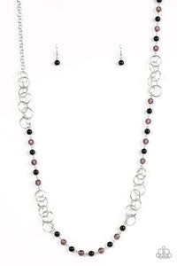 "Paparazzi ""Dreamy Discovery"" Black Bead Silver Hoop Necklace & Earring Set Paparazzi Jewelry"