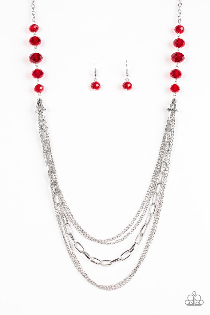 Paparazzi Quot Turn It Up Town Quot Red Crystal Bead Silver