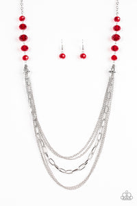 "Paparazzi ""Turn It Up-Town"" Red Crystal Bead Silver Necklace & Earring Set Paparazzi Jewelry"