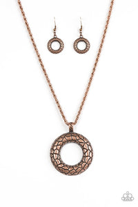 "Paparazzi ""Pretty As A Prowess""Copper Round Stone Pattern Necklace & Earring Set Paparazzi Jewelry"