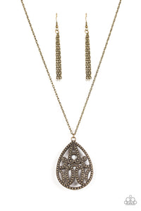 "Paparazzi ""TEARDROP-Dead Gorgeous"" Brass Filigree Teardrop 3D Pendant Necklace & Earring Set Paparazzi Jewelry"