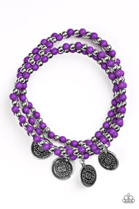 "Paparazzi ""Gypsy Globetrotter"" Purple and Silver Bead Ornate Coin Charm Bracelet Paparazzi Jewelry"