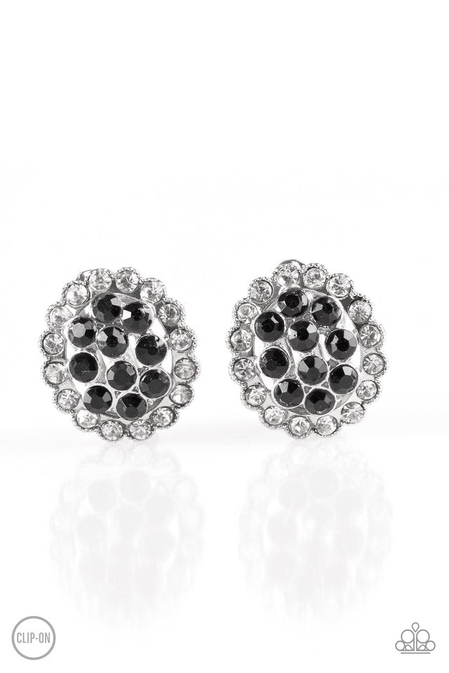 paparazzi runway ready black rhinestone silver clip on earrings marissa 39 s bling on a budget. Black Bedroom Furniture Sets. Home Design Ideas