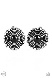 "Paparazzi ""WHEELing and Able"" Black Bead Silver Studded Clip On Earrings Paparazzi Jewelry"