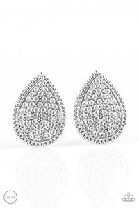"Paparazzi ""A Run For Their Money"" White Rhinestone Silver Teardrop Clip On Earrings Paparazzi Jewelry"