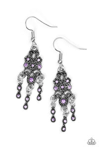 "Paparazzi ""Spring Bling"" Purple Rhinestone Ornate Silver Floral Earrings Paparazzi Jewelry"