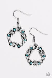 "Paparazzi ""Whimsy Wreaths"" Blue Rhinestone Silver Filigree Earrings Paparazzi Jewelry"