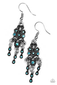 "Paparazzi ""Spring Bling"" Blue Rhinestone Ornate Silver Floral Earrings Paparazzi Jewelry"