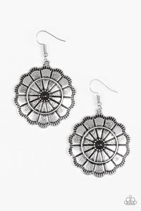 "Paparazzi ""I'm No Wallflower"" Black Bead Silver Round Floral Design Earrings Paparazzi Jewelry"