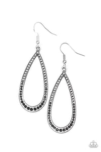 "Paparazzi ""Dripping In Diamonds"" Black Rhinestone Silver Teardrop Earrings Paparazzi Jewelry"