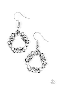 "Paparazzi ""Whimsy Wreaths"" White Rhinestone Silver Filigree Earrings Paparazzi Jewelry"