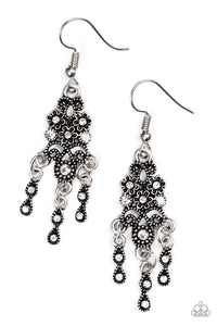 "Paparazzi ""Spring Bling"" White Rhinestone Ornate Silver Floral Earrings Paparazzi Jewelry"