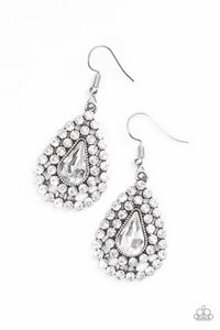 "Paparazzi ""Diamond Dazzle"" White Teardrop Gem Rhinestone Silver Earrings Paparazzi Jewelry"