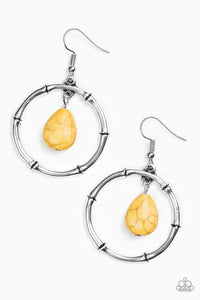 "Paparazzi ""Stone Style"" Yellow Stone Silver Hoop Earrings Paparazzi Jewelry"