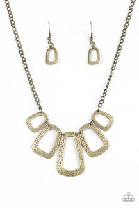 "Paparazzi ""Nice FRAMEWORK!"" Brass Rectangular Frame Necklace & Earring Set Paparazzi Jewelry"