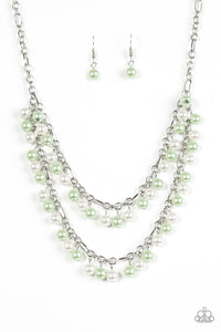 "Paparazzi ""Beauty Shop Fashion"" Green and White Pearl Silver Necklace & Earring Set Paparazzi Jewelry"