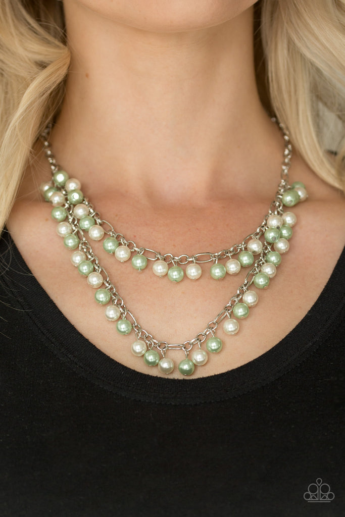 Paparazzi Quot Beauty Shop Fashion Quot Green And White Pearl