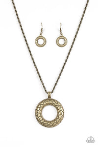 "Paparazzi ""Pretty As A Prowess"" Brass Round Stone Pattern Necklace & Earring Set Paparazzi Jewelry"