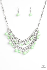 "Paparazzi ""Bridal Party"" Green Glassy Beads Layered Silver Necklace & Earring Set Paparazzi Jewelry"