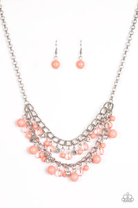 "Paparazzi ""Bridal Party"" Orange Glassy Beads Layered Silver Necklace & Earring Set Paparazzi Jewelry"