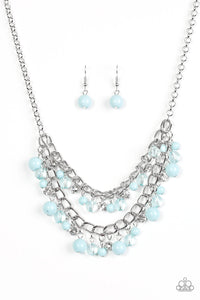 "Paparazzi ""Bridal Party"" Blue Glassy Beads Layered Silver Necklace & Earring Set Paparazzi Jewelry"
